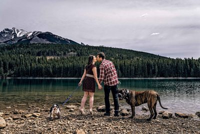 Two Jack Lake Engagement Photos with Dogs