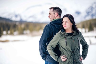 Two Jack Lake Winter Engagement Photos