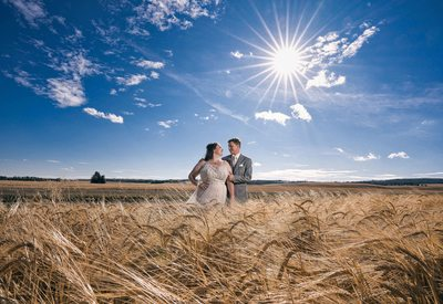 Bride and Groom Together in the Field