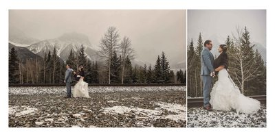 Canmore Winter Wedding Album First Look