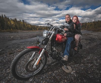 Engagement Session with a Couple on Harley Davidson Bike