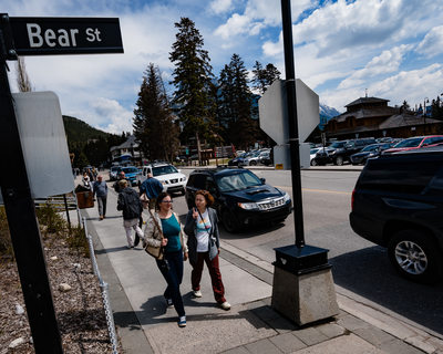 Walking on Bear Street in Town Of Banff