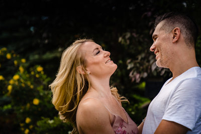 A Laugh After a Kiss During Engagement Session