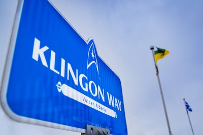 Klingon Way Street Sign in Vulcan