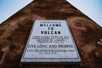 Welcome to Vulcan Sign at the Starship Enterprise Monument.
