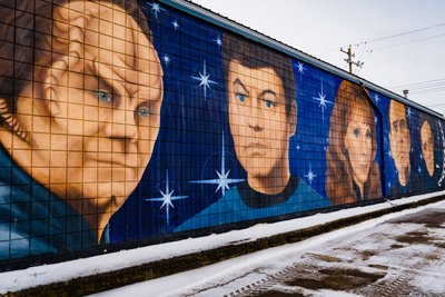 Murals of all the Star Trek doctors in Vulcan