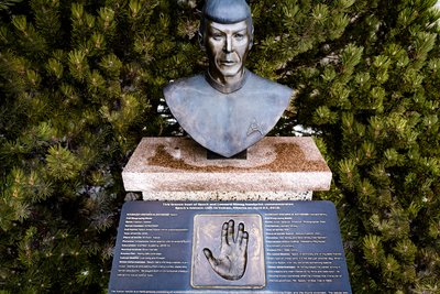 Bust of Mr. Spock and Leonard Nimoy Hand Print