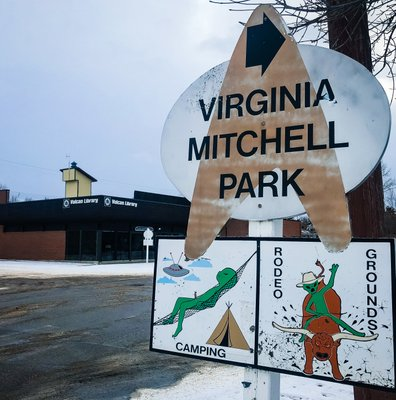 Virginia Mitchel Park Street Sign in Vulcan