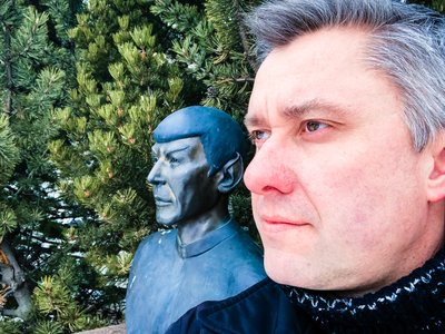 A Self Portrait near the Bust of Mr. Spok in Vulcan