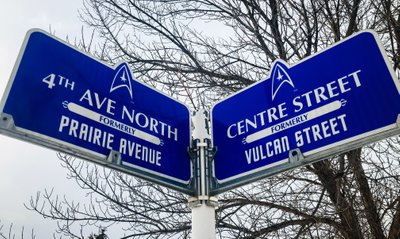 A Street Sign with Star Trek theme in Vulcan