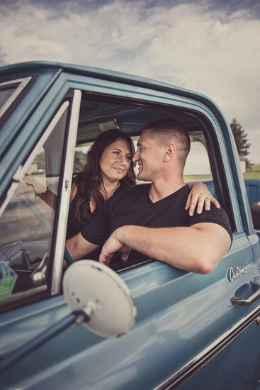 Fish Creek Park Engagement Photos in the Classic Car