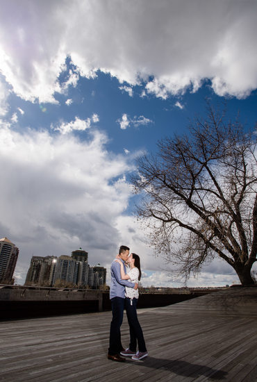 Kissing Couple with Calgary Downtown in the Background
