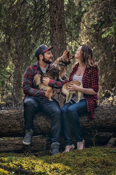 Two Jack Lake Engagement Session Photos with Dogs