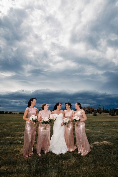 Bride and her Bridesmaids at the Golf Course