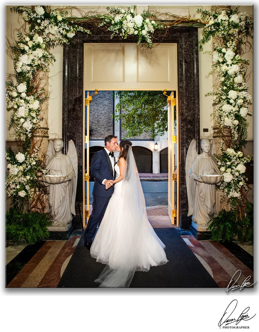 Jesuit Church, NOLA, bride and groom, floral artistry
