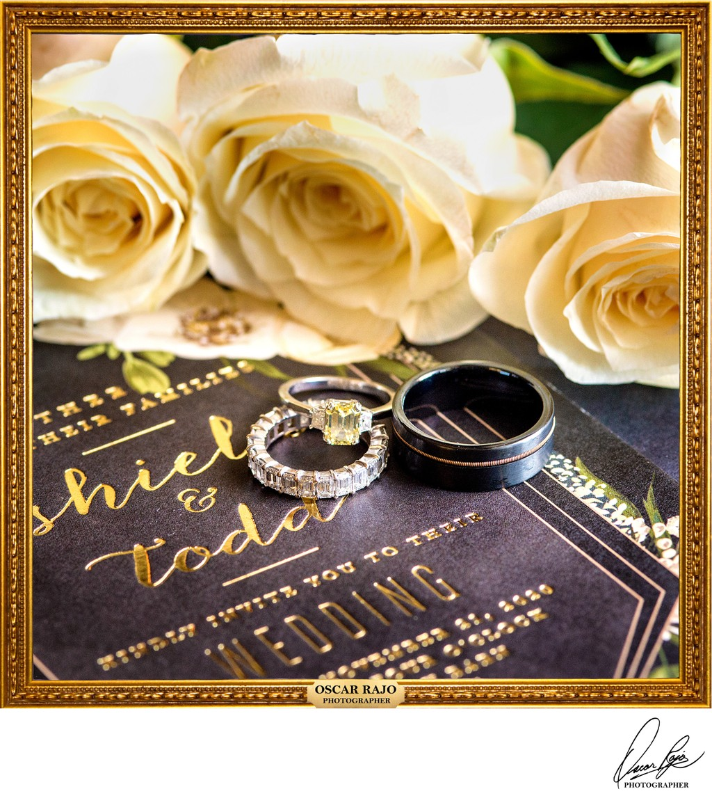 Wedding details, rings, invitation, wedding photography