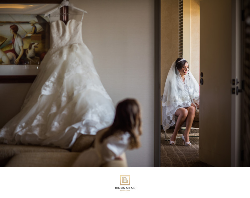 Bridal portrait at Mariott in Marina Del Rey