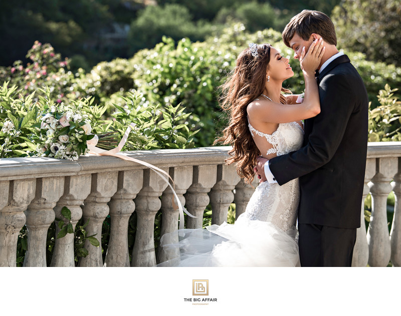 A lovely portrait of bride and groom at Bel Air Bay Club Patio