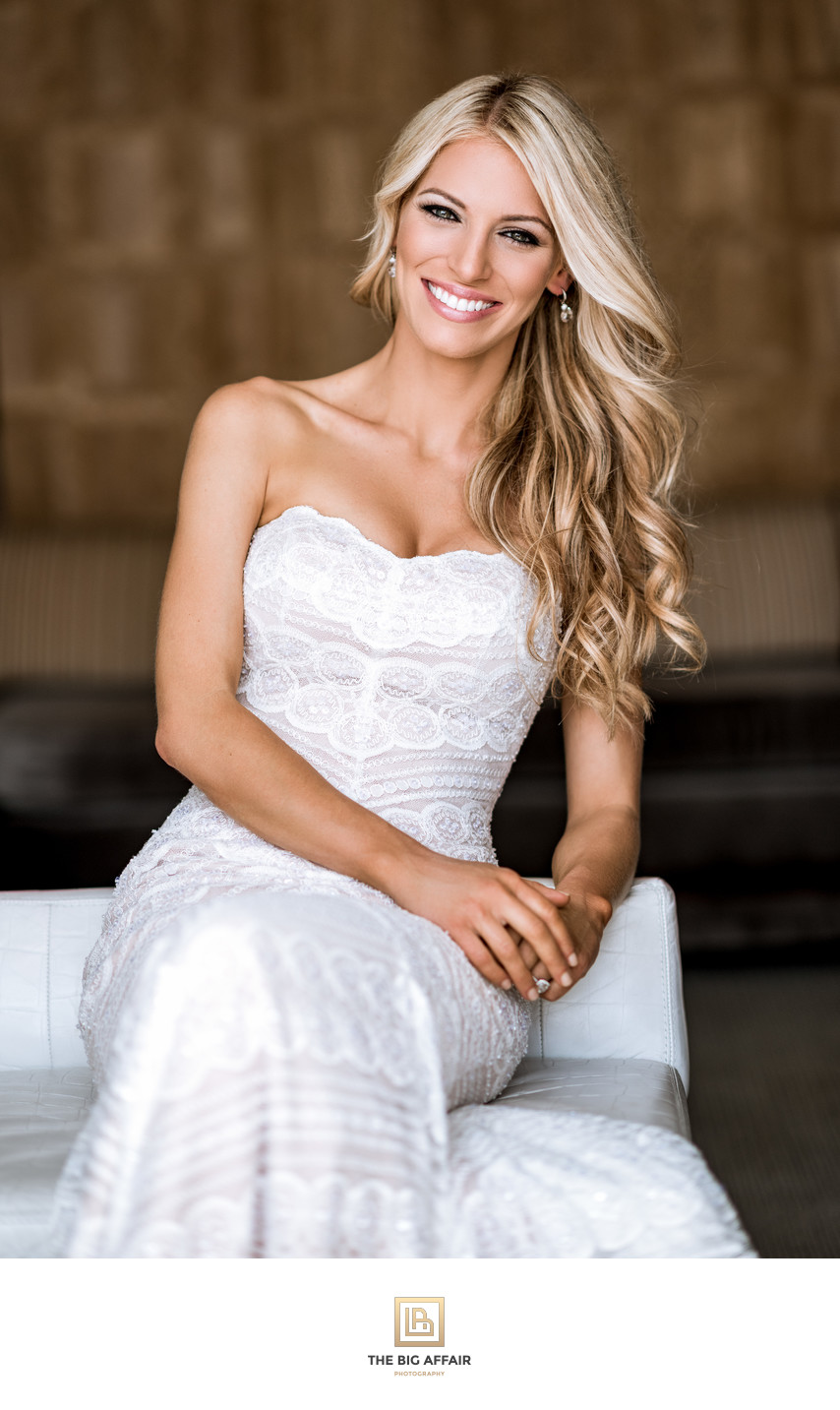 gorgeous blond hair bride smilling