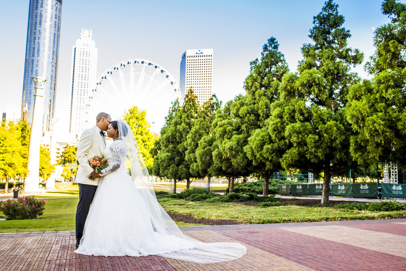 Centennial Olympic Park Wedding Ferris Wheel backdrop