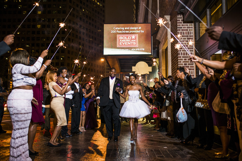 200 Peachtree Atlanta Wedding Photographer Couple Sparkler exit