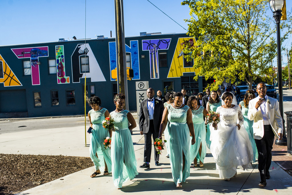 Terminus 330 Wedding Atlanta Bridal Party walking