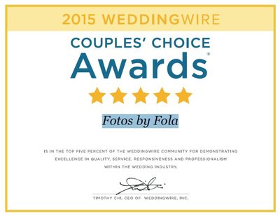 Fotos by Fola Received WeddingWire Couples' Choice Awards