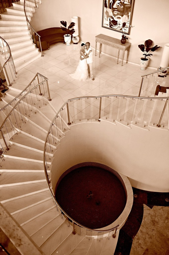 Bride and Groom with stairs