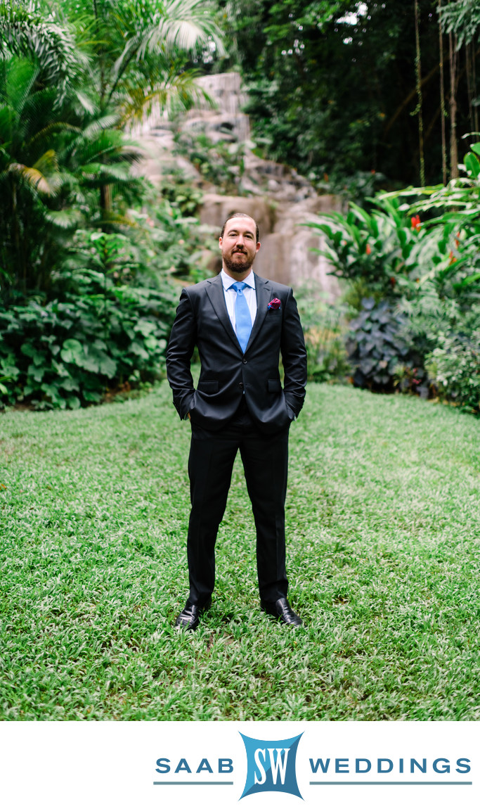 Groom Photo at Konoko Falls Ocho Rios