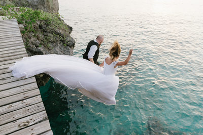 Trash the dress at Rock House Resort Negril Jamaica