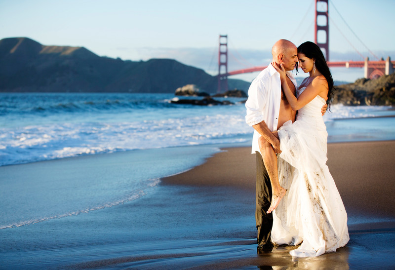 Sunset Romantic baker beach wedding photo