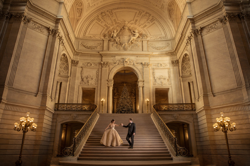 Beauty and the Beast San Francisco City Hall Steps Wedding