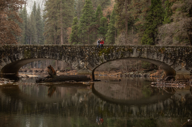 Engagement session on a bridge in Yosemite National Park