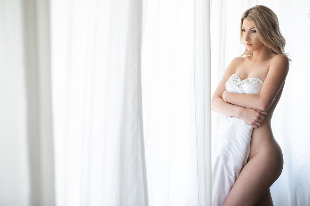Bridal boudoir bride and her dress