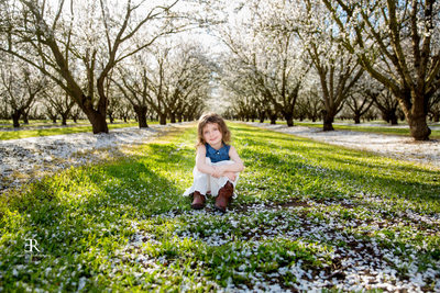 Tracy California Family photographer Almond blossoms
