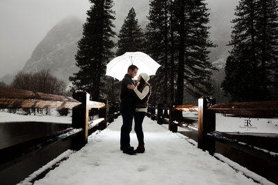Winter engagement session Yosemite California