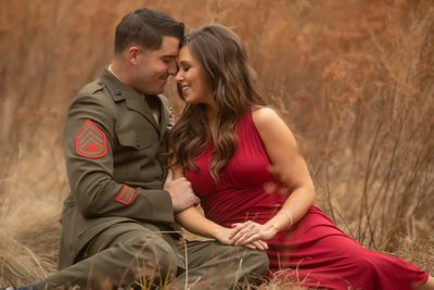 Engagement Session in Yosemite in Military Uniform.