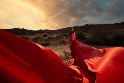 Long Red Dress that Flows engagement photos