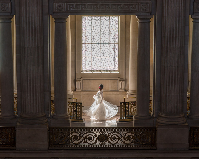 Wedding gown in window light
