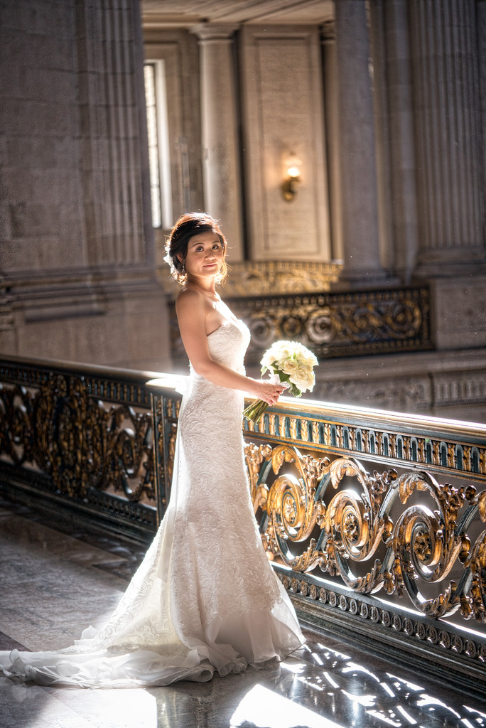 Chinese Bride in Natural Light at City Hall