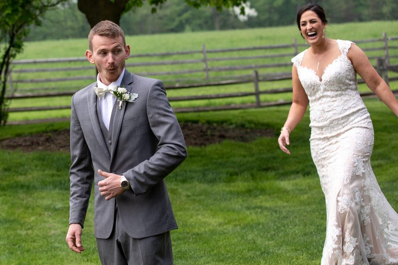 Groom reaction during first look at Ironstone Ranch