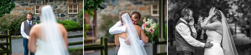 Groom crying during Ironstone Ranch wedding first look