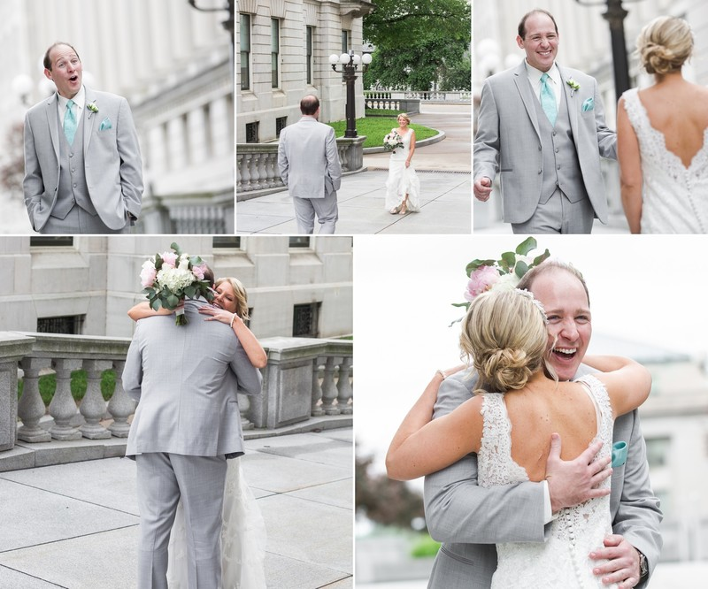Groom reaction during Harrisburg wedding first look