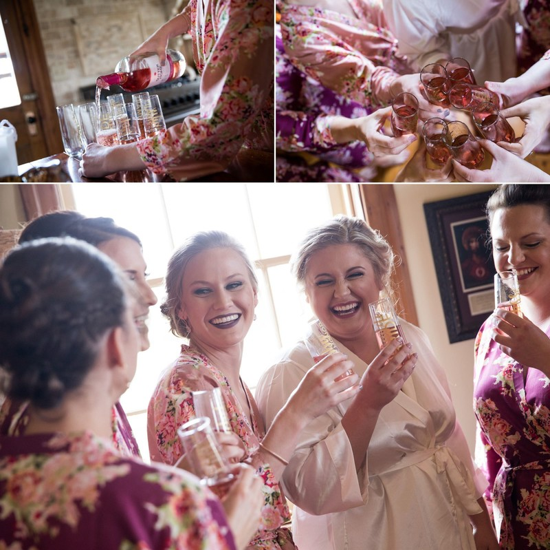 Bride and bridesmaids toasting in getting ready robes