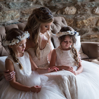 Bride with Flower Girls at Wyndridge Farm in Dallastown