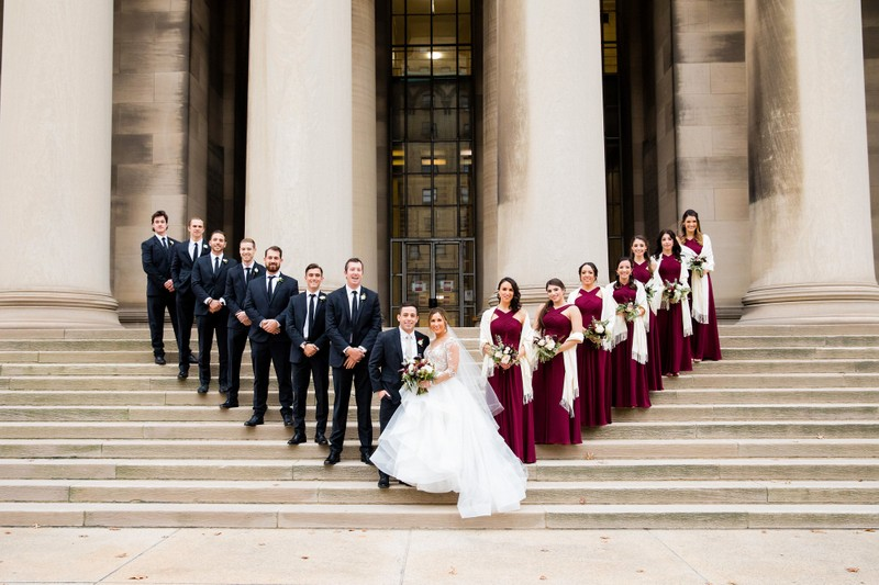 wedding photos staircase mellon columns pittsburgh