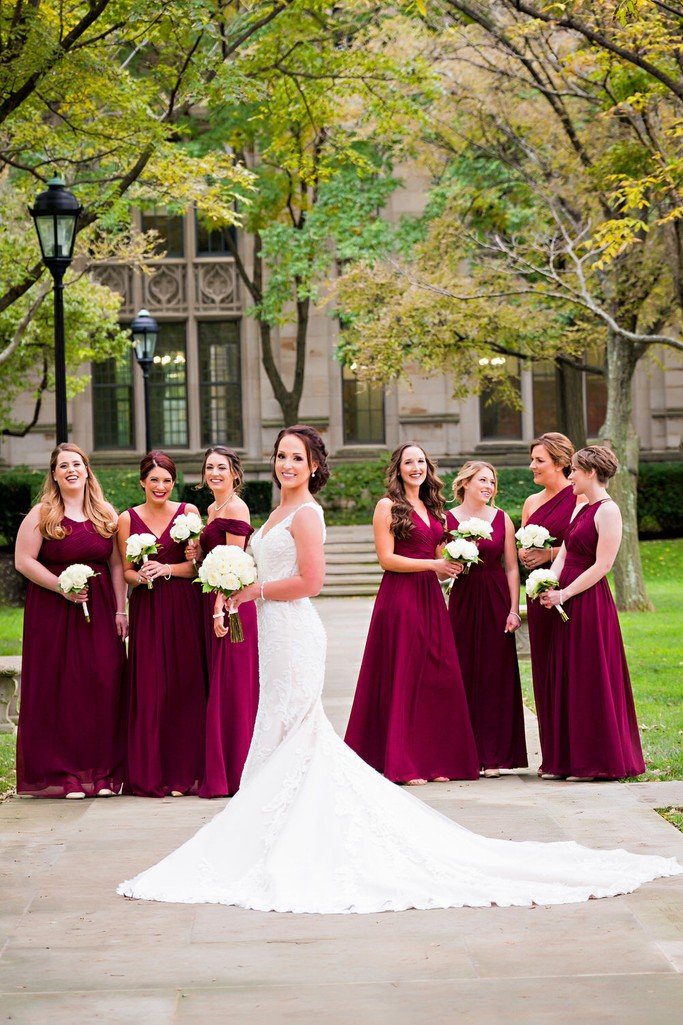 wedding party pics outside heinz chapel walkway