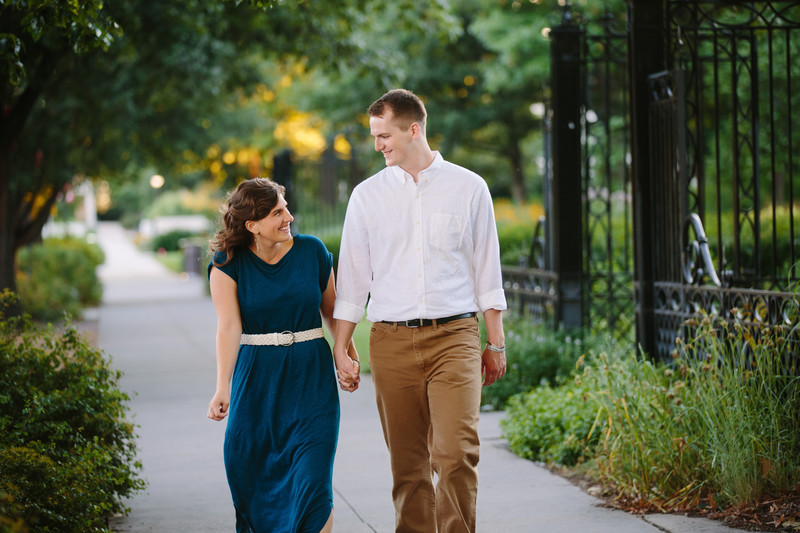 Engaged Couple Walking Through UNL Campus