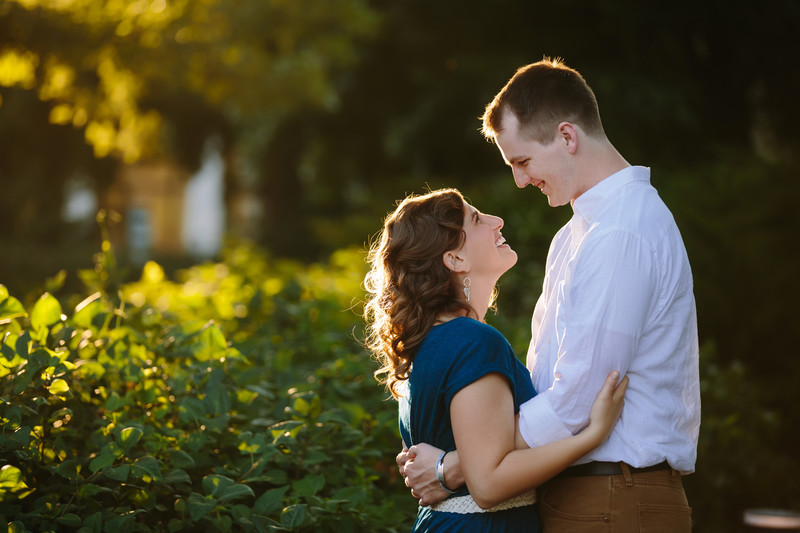 Love Gardens Engagement Shoot with Backlighting