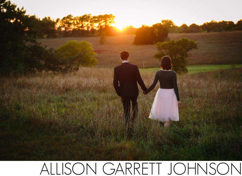 Engaged Couple Walking at Sunset